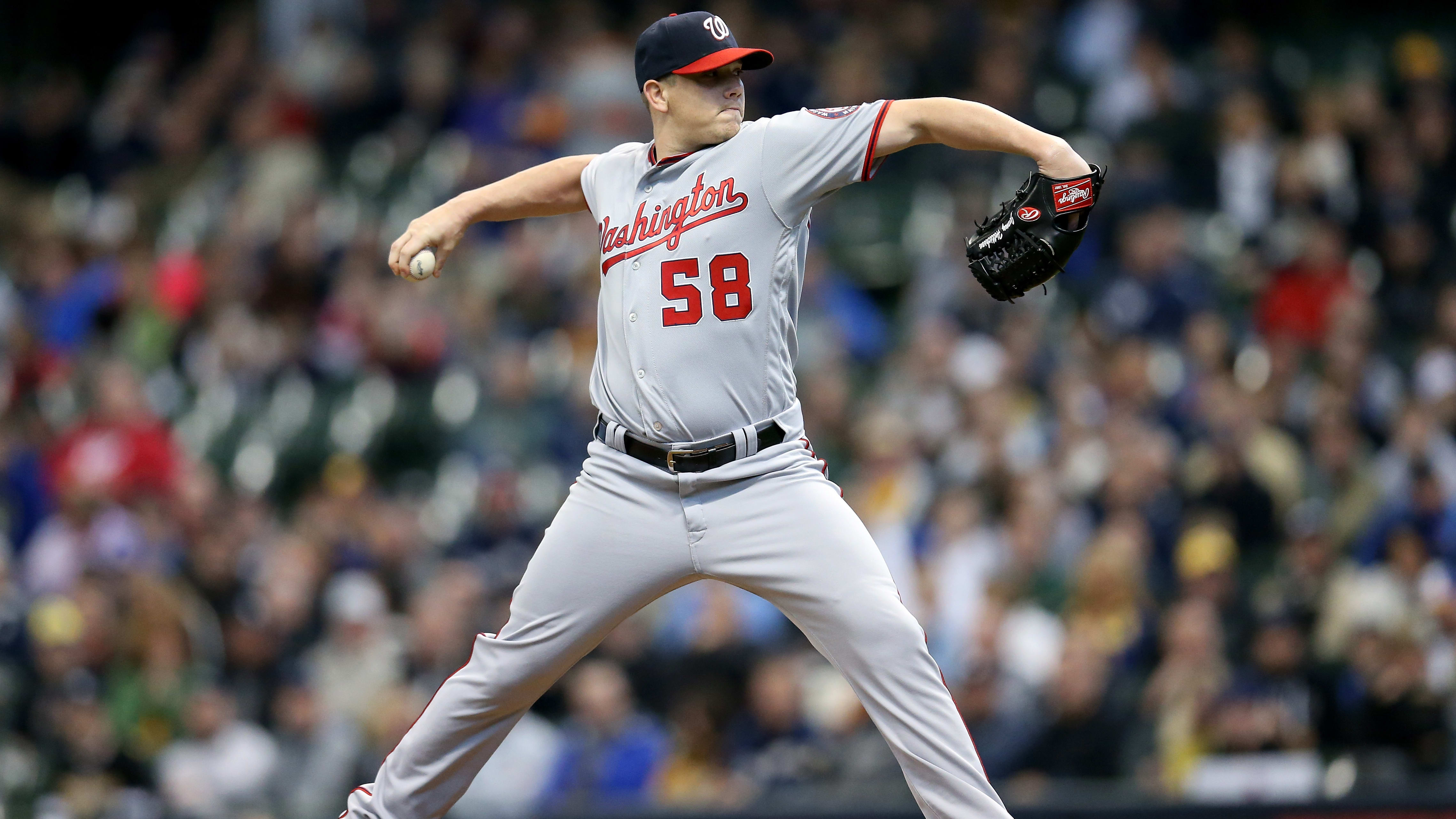MILWAUKEE, WISCONSIN - MAY 08:  Jeremy Hellickson #58 of the Washington Nationals pitches in the first inning against the Milwaukee Brewers at Miller Park on May 08, 2019 in Milwaukee, Wisconsin. (Photo by Dylan Buell/Getty Images)