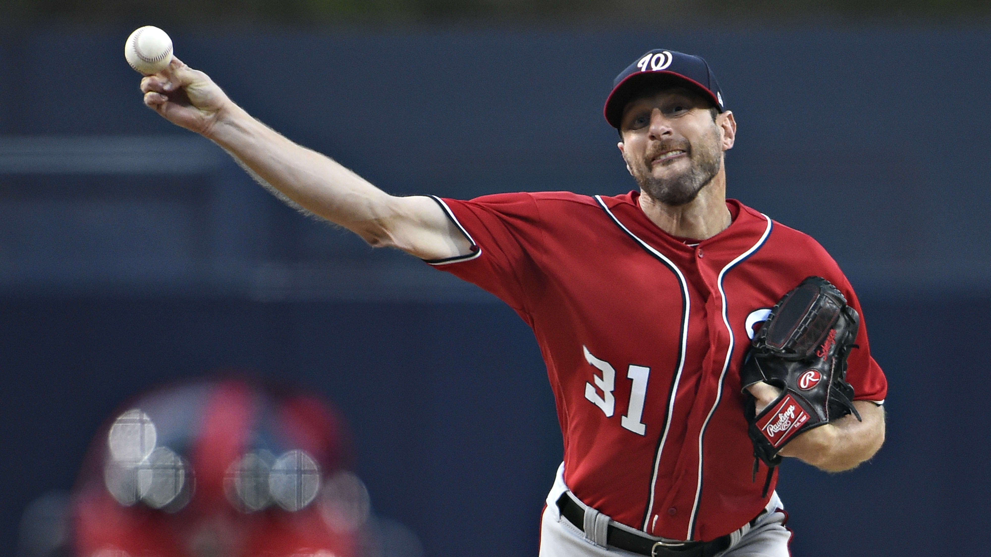 SAN DIEGO, CA - JUNE 8: Max Scherzer #31 of the Washington Nationals pitches during the first inning of a baseball game against the San Diego Padres at Petco Park June 8, 2019 in San Diego, California.  (Photo by Denis Poroy/Getty Images)