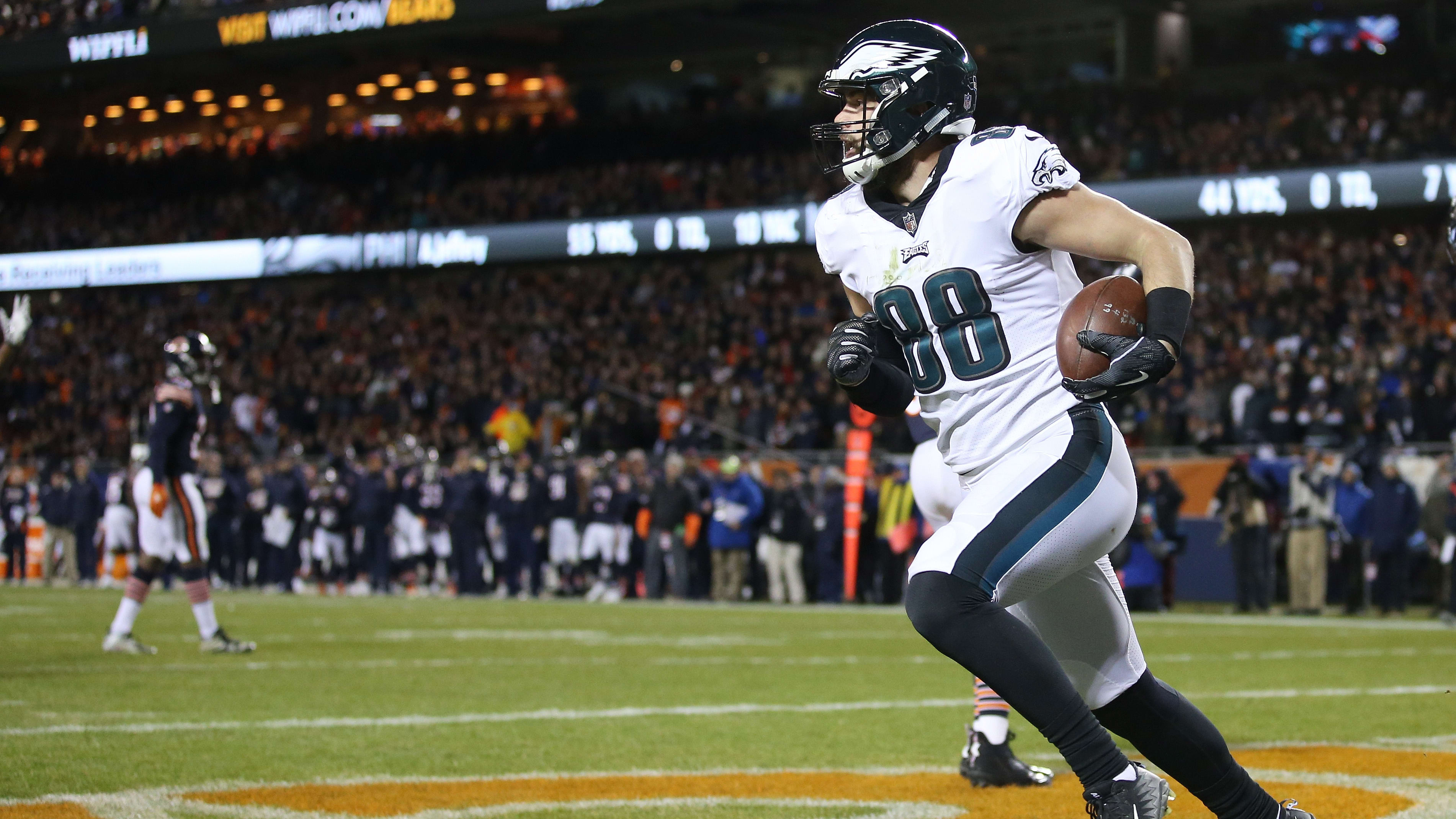 CHICAGO, ILLINOIS - JANUARY 06:  Dallas Goedert #88 of the Philadelphia Eagles scores a touchdown against the Chicago Bears in the third quarter of the NFC Wild Card Playoff game at Soldier Field on January 06, 2019 in Chicago, Illinois. (Photo by Dylan Buell/Getty Images)