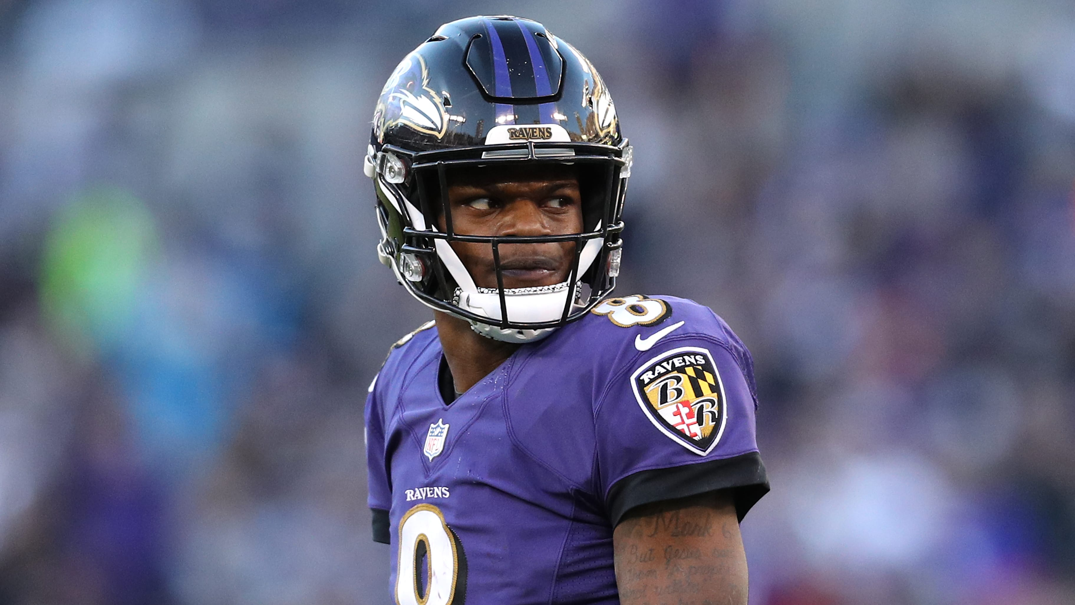 BALTIMORE, MARYLAND - JANUARY 06: Quarterback Lamar Jackson #8 of the Baltimore Ravens in action against the Los Angeles Chargers during the AFC Wild Card Playoff game at M&T Bank Stadium on January 06, 2019 in Baltimore, Maryland. (Photo by Patrick Smith/Getty Images)