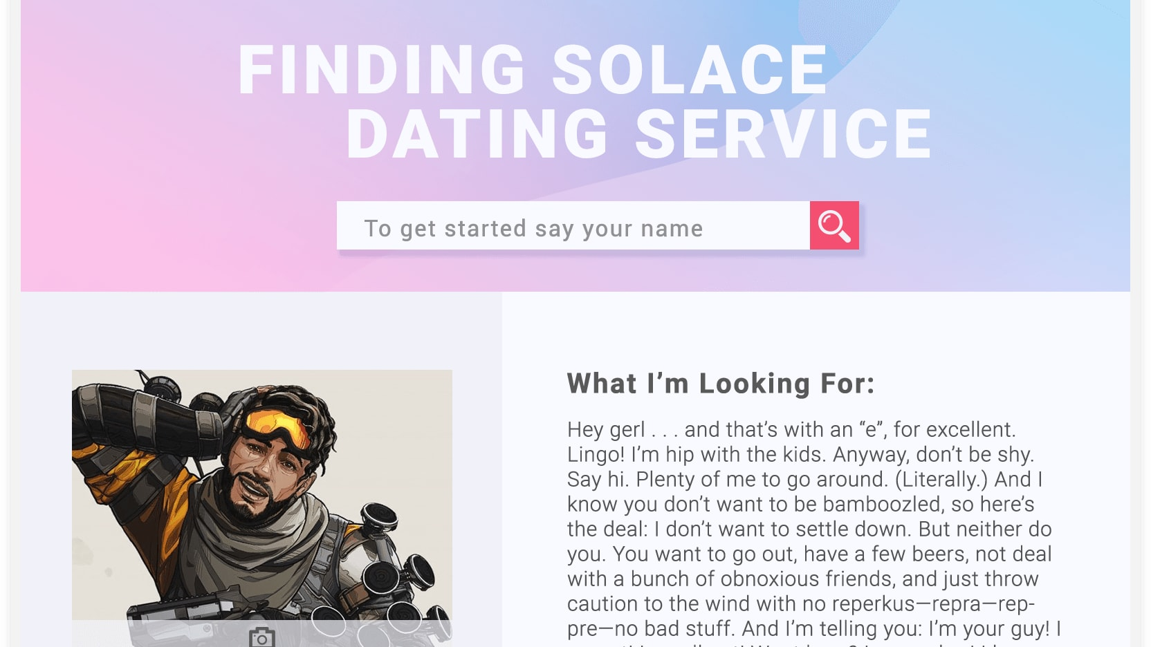 Apex Legends lore expands with the reveal of Mirage's dating profile.