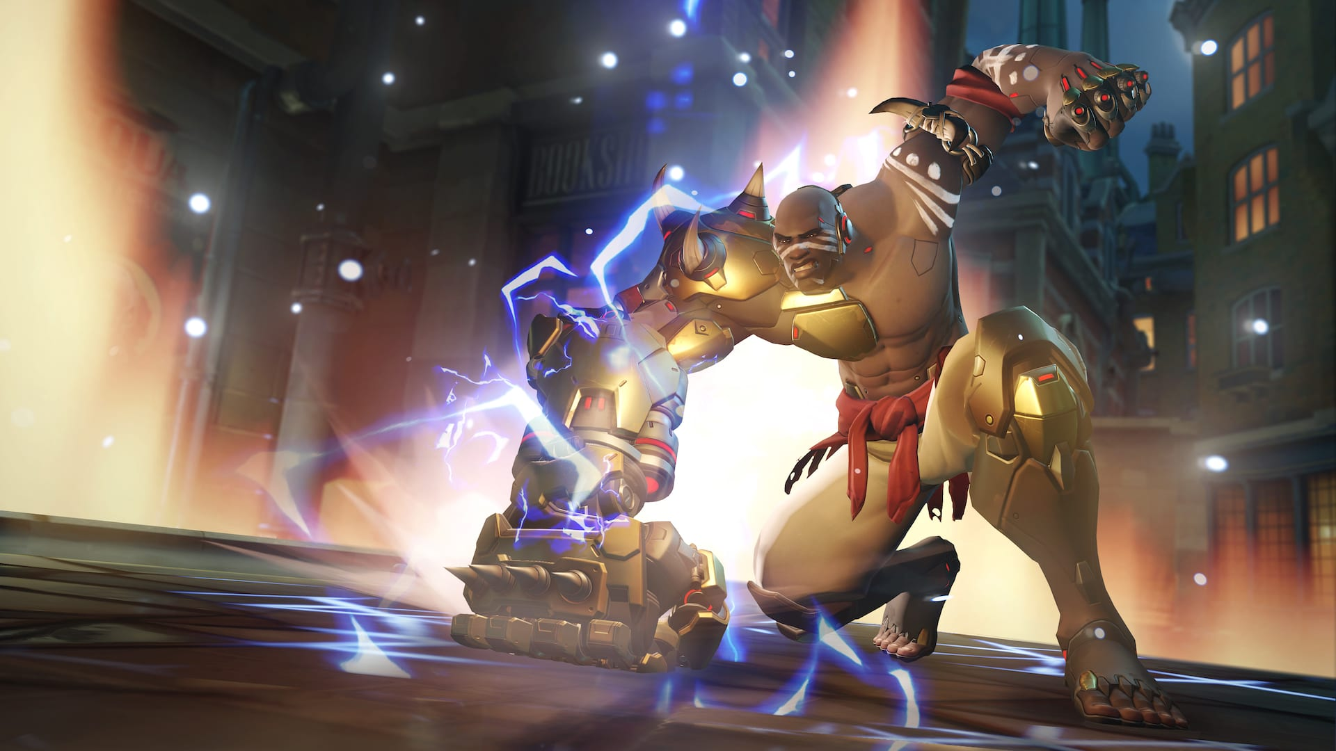 An Overwatch Workshop creation by trappi allows Doomfist to Rocket Punch straight up.